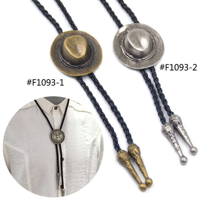 Lychee Vintage Western America Style Silver Color Cap Decorative Mens Male Artificial Leather Bolo Tie