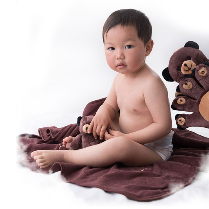 Baby Blanket Newborn Bear Monkey Bedding Swaddling Quilt for Bed Sofa Wool Cartoon with Gloves 80x80CM