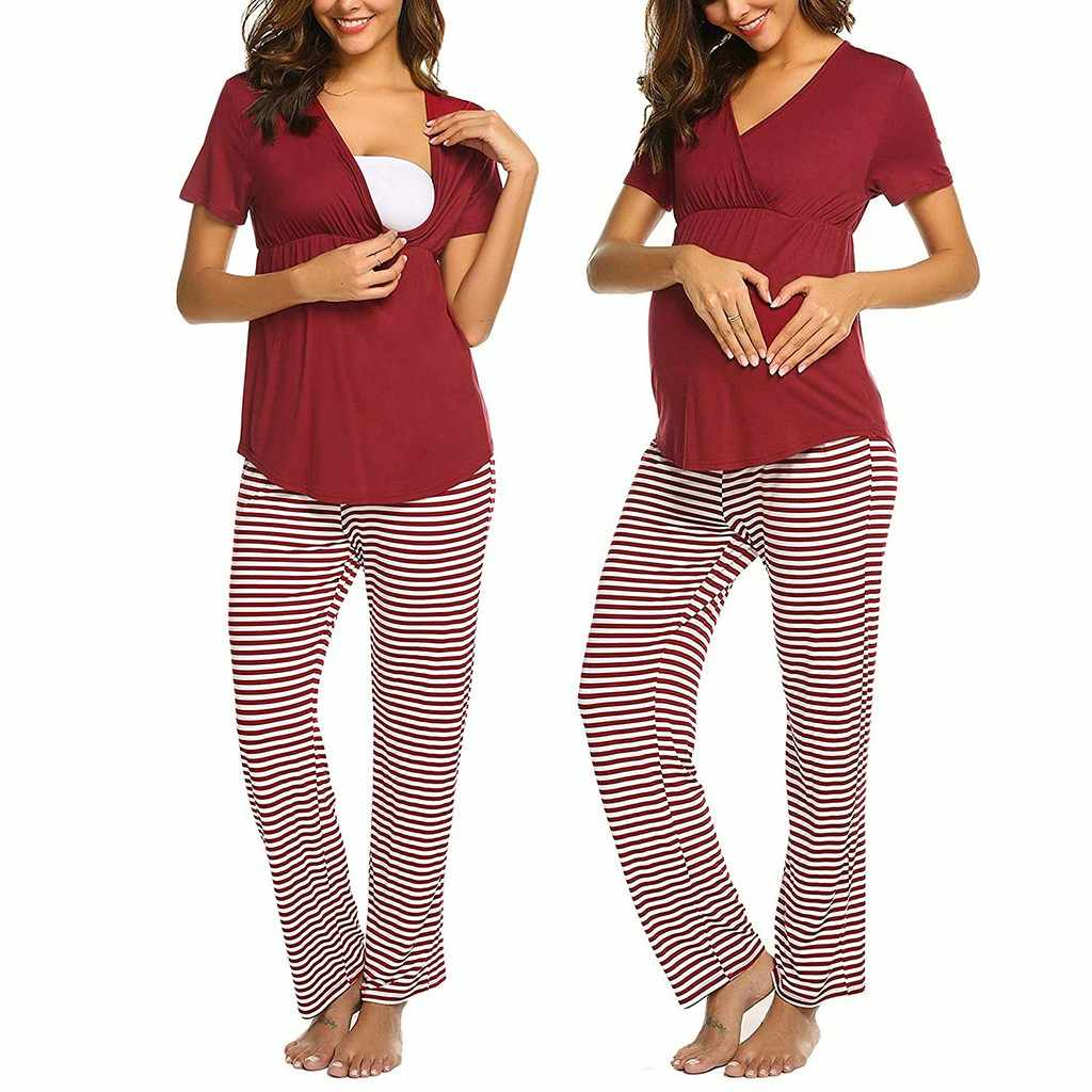 Maternity Pajama Set Pregnant Women Short Sleeve V-neck Breastfeeding T-Shirt Adjustable Stripe Pants Pajamas
