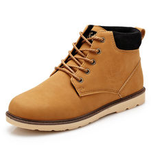 2017 Mens Fashion Leather Boots Spring Autumn Winter Europe Style Mens Lace-Up High Top Casual Shoes Man Motorcycle Martin Boots
