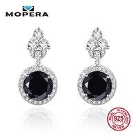 Mopera 925 Sterling Silver Stud Earrings 6 Colors Natural Black Sapphire Topaz Garnet Citrine Amethyst Peridot