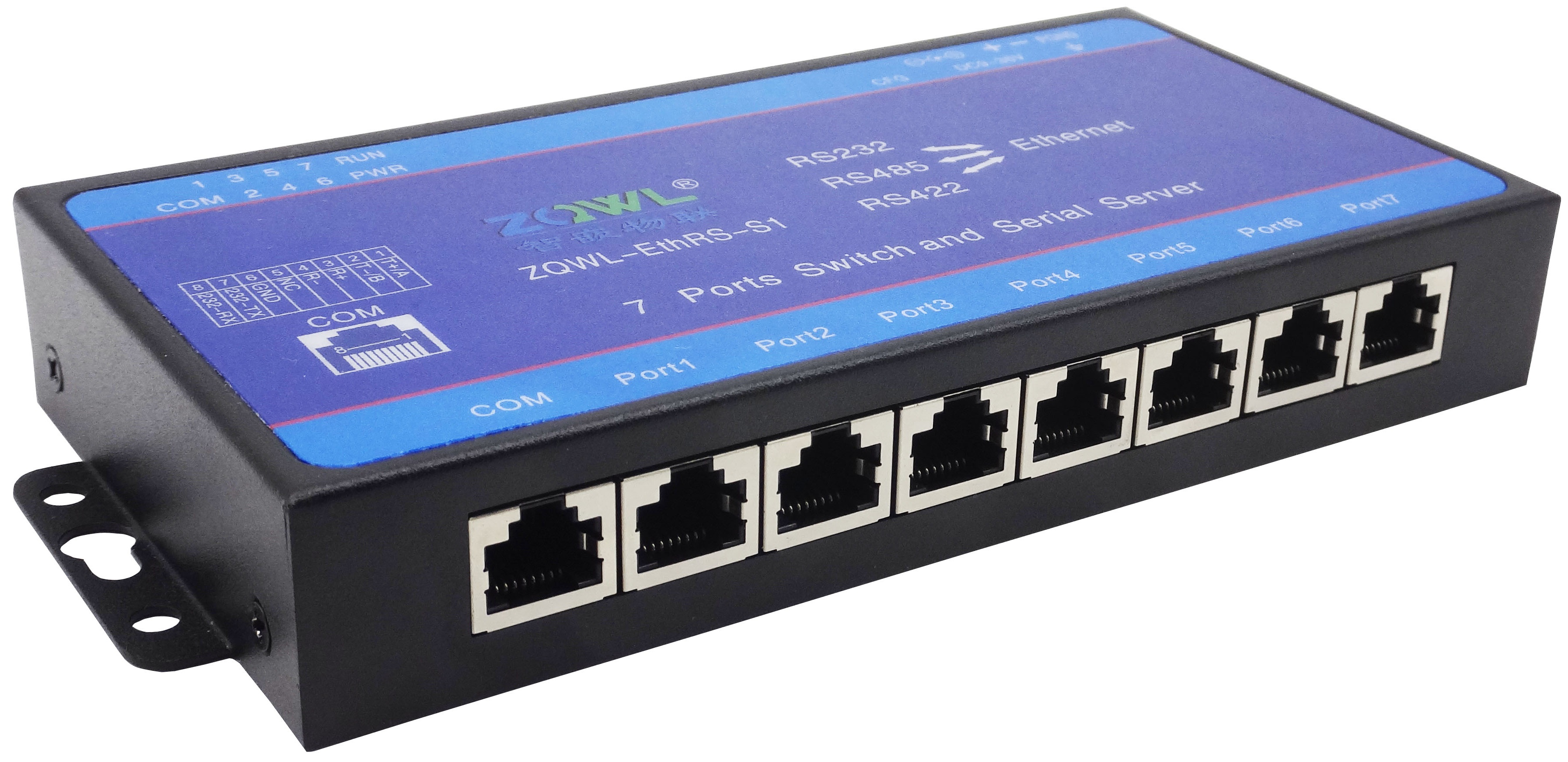 Serial Port Server/Serial Port to Ethernet Network to Serial Port/7 Port Switch/Modbus TCP/RTUSerial Port Server/Serial Port to Ethernet Network to Serial Port/7 Port Switch/Modbus TCP/RTU