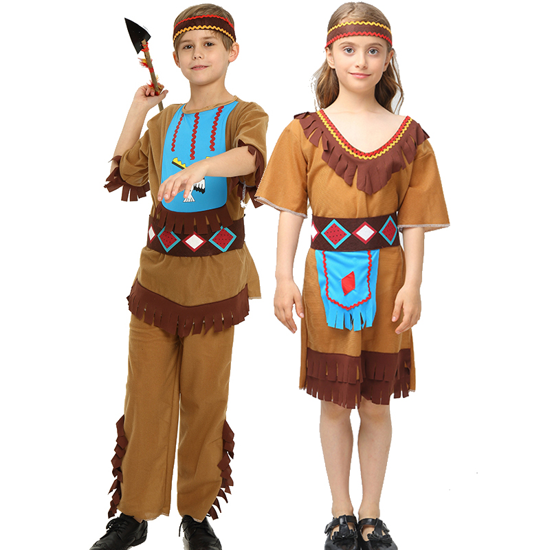 Halloween Cosplay Costume Adult Kids Savage Caveman Costumes Leopard