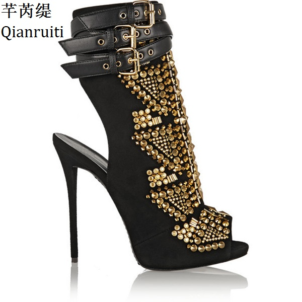 Qianruiti Gold Studded Rivets Women Platform Shoes Peep Toe Buckle Strap Women Pumps Summer High Heels Women Gladiator Shoes lasyarrow brand shoes women pumps 16cm high heels peep toe platform shoes large size 30 48 ladies gladiator party shoes rm317