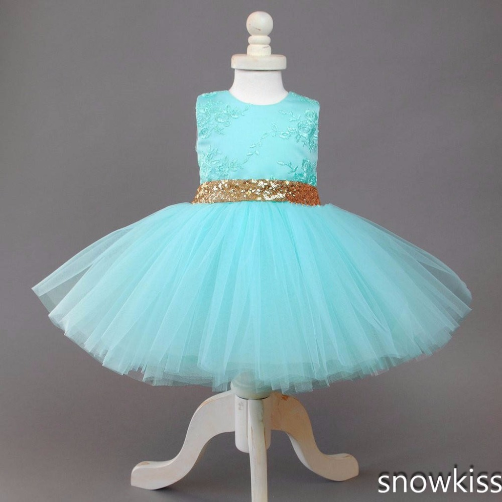 2017 blue cute short baby girl summer dresses tulle ball gown lace appliques sparkly sequin sash open back kids dresses with bow