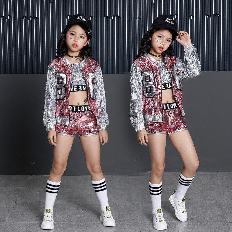 Los niños de ropa Hip Hop Ropa para Niñas chaqueta cultivo tanque Tops  pantalones cortos de camisa de baile de Jazz traje de baile de salón de  baile ... 9d67f40f4f3
