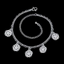 Cute Flowers Charm Foot Anklet For Women Silver Ankle Bracelet Female Silver Plated Summer Style Jewelry
