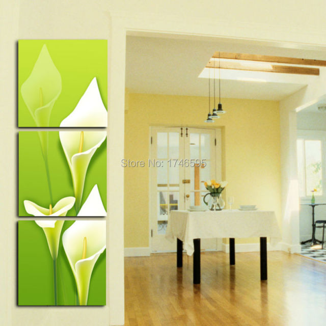 Big 3pcs green calla lily flower Wall Art picture print Painting for ...