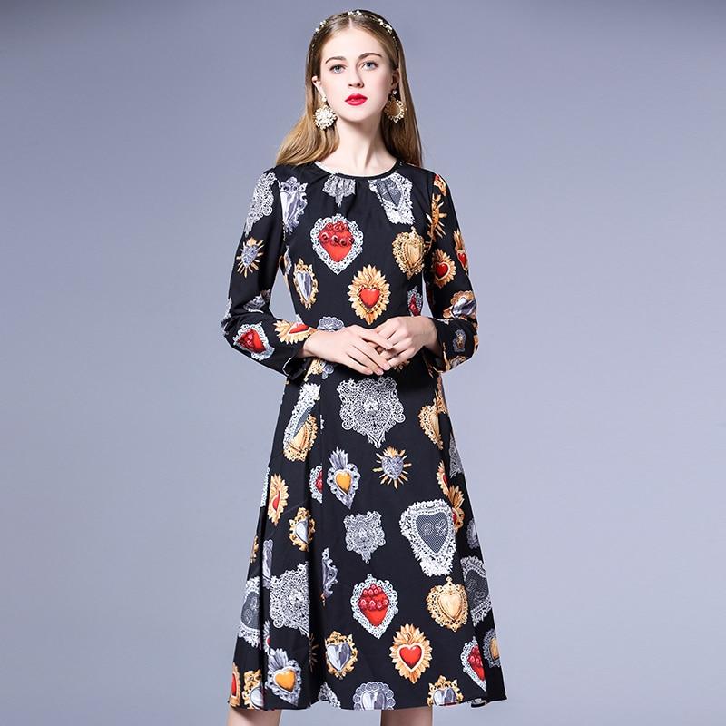 Haute Femmes Manches Cou Vintage Noir 2018 Robe Qualité Nouveau Automne De Longues Fashion Imprimer O À Designer Piste dCoWBeQrx