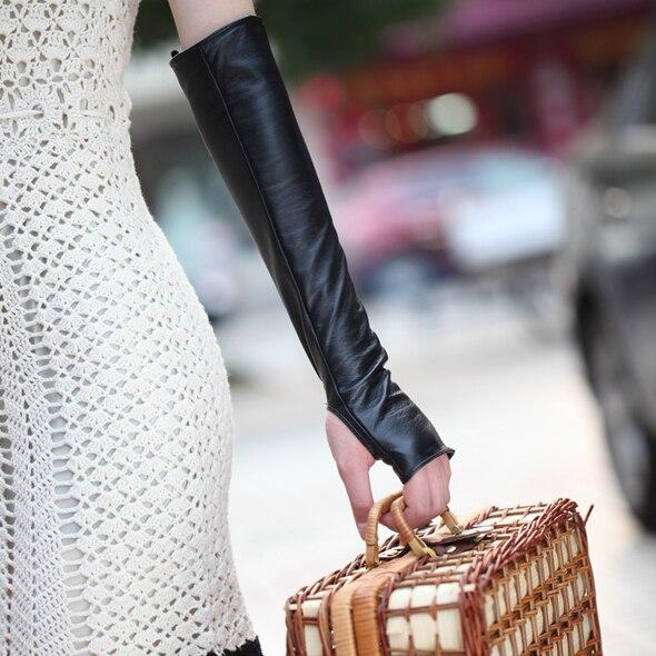 Top design sheepskin long fingerless fashion gloves women's genuine leather gloves l070nn