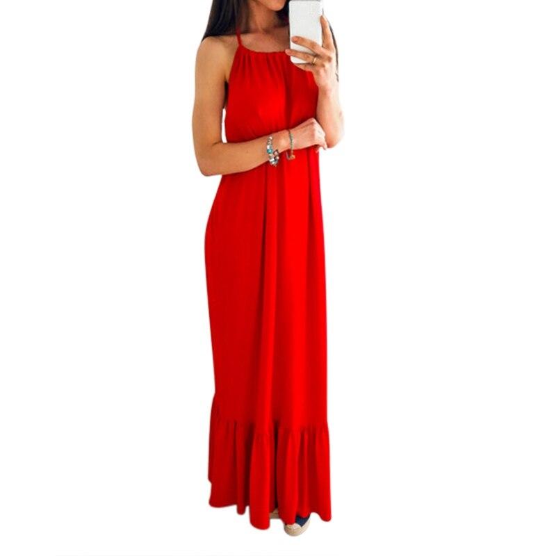 Элегантные с открытой спиной длинные оборки красное платье дамы летнее вечернее платье Холтер Макси платья Vestidos