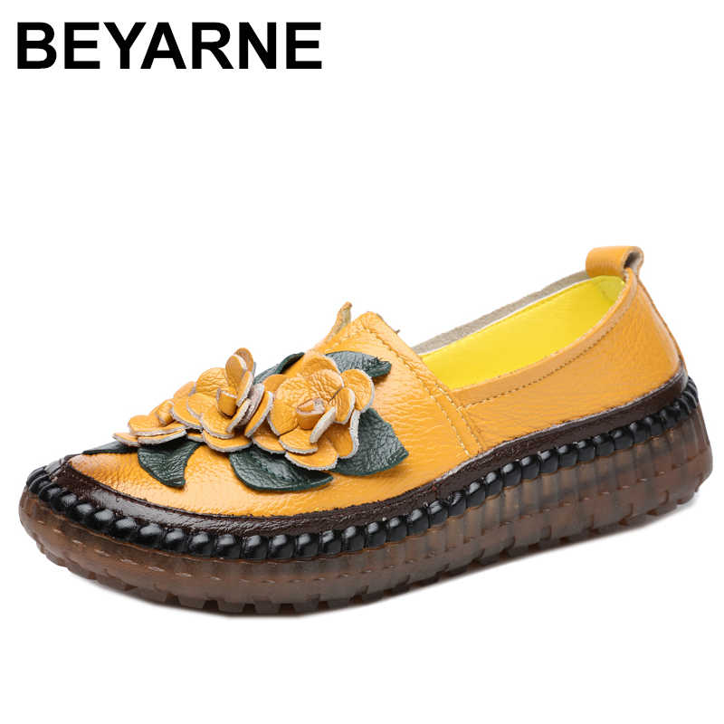 BEYARNERetroHandmade Echt Leer Loafers Platte Schoenen Vrouwen Lente Ronde Neus Applicaties Soft Slip-Op Casual Dame Platte ShoesE082