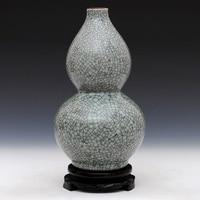 Jingdezhen antique ceramics kiln gourd vase crackle glaze crafts retro Home Furnishing living room decoration