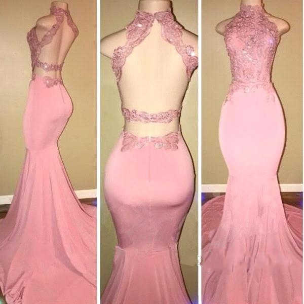 Sexy Pink   Evening     Dresses   2018 Long Mermaid High Collar Lace Appliques Backless Women Formal Prom   Evening   Gown robe de soiree