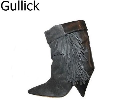 Solid Black Winter Spring Women Fringe Decoration Shoes Slip-on Pointed-Toe Spike High Heels Mid-Calf Boots Women Free Shipping hot selling chic stylish black grey suede leather patchwork boots mid calf spike heels middle fringe boots side tassel boots