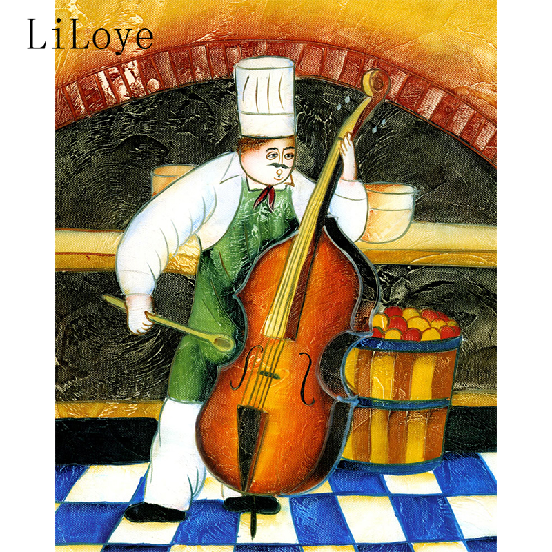 Li Loye Embroidery The Chef Plays the Violin 5D DIY Diamond Painting Diamond Painting Cross Stitch Rhinestone Decoration NQ1685