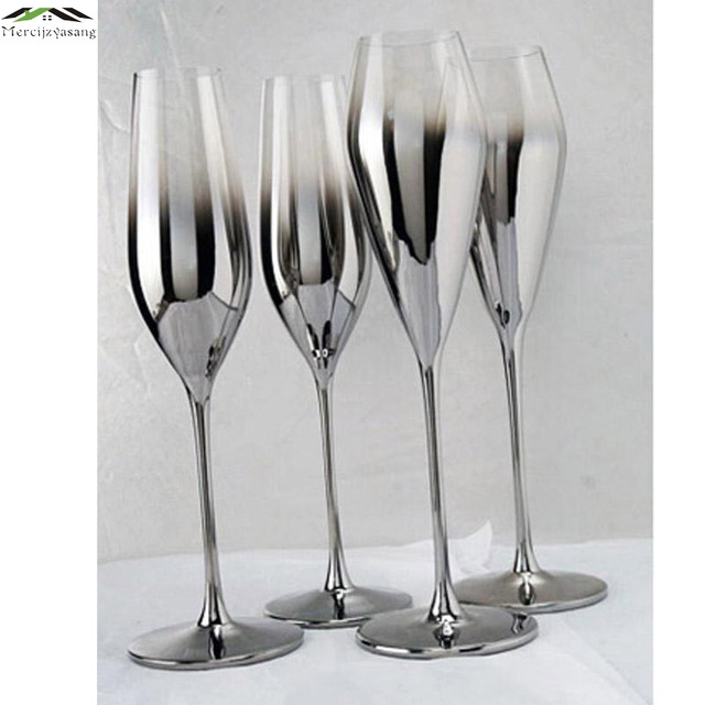 New Gloss Silver finish metal champagne flutes Crystal for wedding ...