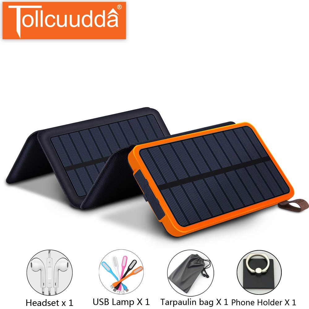 Tollcuudda Caricatore del Pannello Solare della Banca di Pawer 10000 mah di Ricarica Powerbank Per Il Iphone Xiaomi Huawei Poverbank Pannelli Solari Portatili
