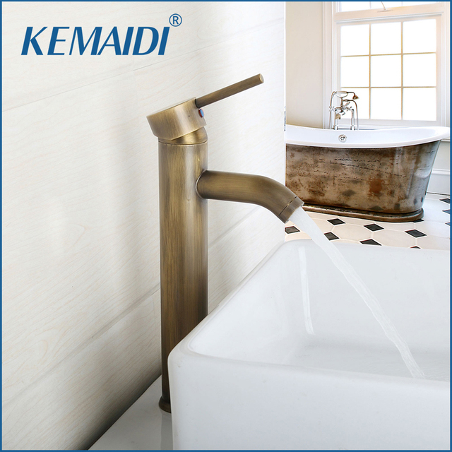 KEMAIDI Bathroom Basin Sink Faucets Contemporary Single Handle Mixer  Antique Brass Tall Vessel Sink Bathroom Faucet