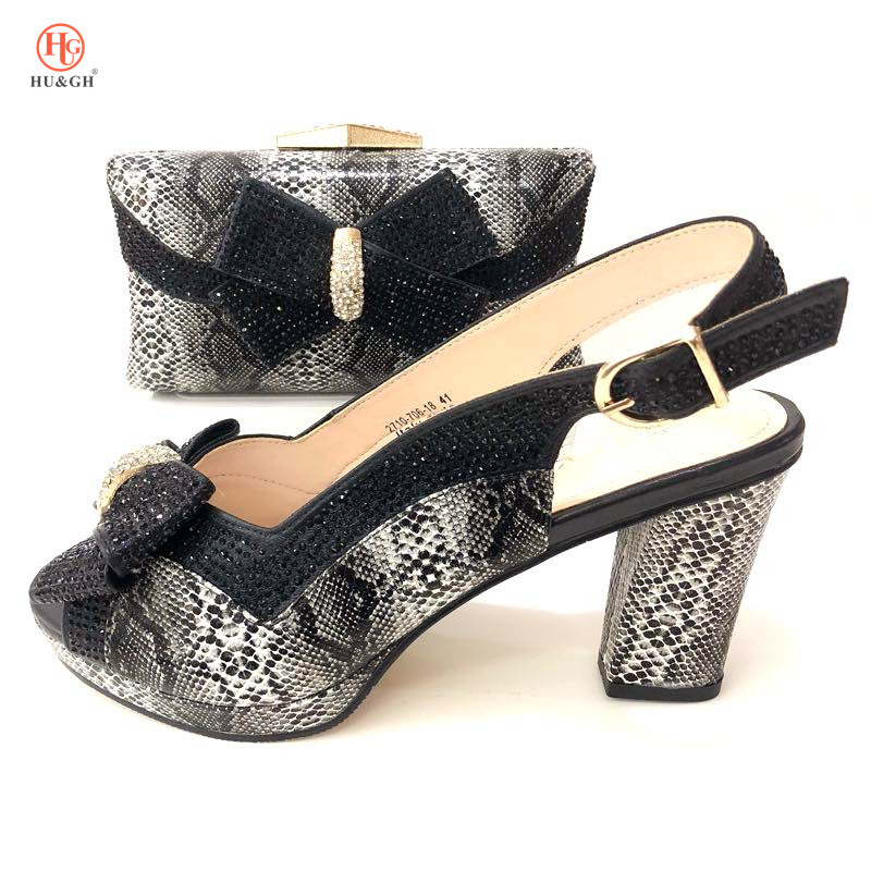 Black Matching Shoe and Bag Set for Wedding Ladies Italian Shoes and Bag Set Decorated with Rhinestone Party Shoes and Bag Set doershow ladies italian shoes and bag set decorated with rhinestone african wedding shoes and bag set party black shoes svp1 15