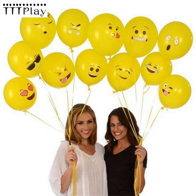 100pcs 12inch Emoji Smiley Face Expression Yellow Latex Balloons