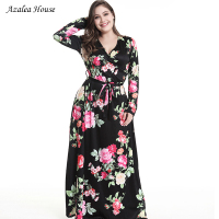 Azalea House 2018 Women Summerdress Maxi dress vestido Long Sleeve Deep V neck Waist Banded Printed Dress Sashes long dress
