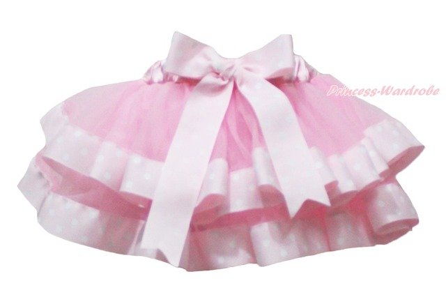 Valentine Light Pink White Dot Trimmed Tutu Dance Baby Girls Skirt NB-8Y