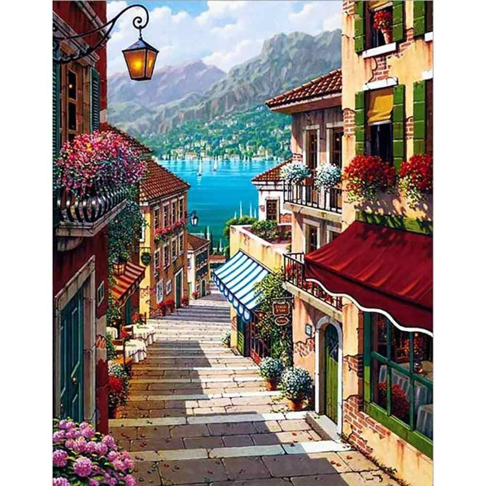 5D DIY Diamond Embroidery Cross Stitch Mosaic Painting With Round Diamond Peace Town Landscape Home Decor Gift