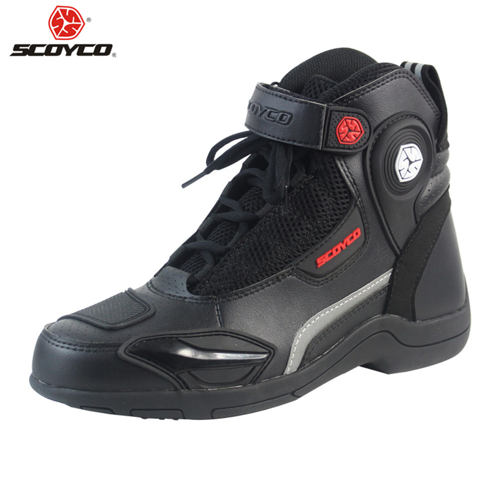 SCOYCO Motorcycle Boots Urban Stivali Botas Moto Motosiklet Bot Mens Biker Shoes Motociclista Bottes Racing P663953 Black