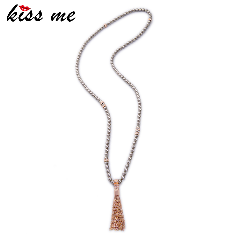 KISS ME Brand Long Beads Chain Necklaces & Pendants New <font><b>Trending</b></font> White Grey Simulated Pearls Tassel Necklace