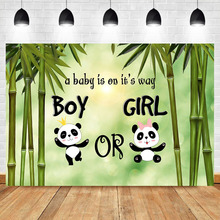 NeoBack Gender Reveal Backdrop Cute Panda Boy or Girl Baby Shower Photography Background Banner Decorations Supplies