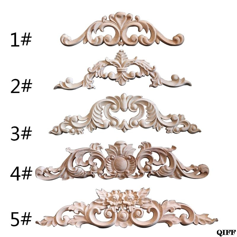 Woodcarving Decal Corner Frame Appliques Furniture Wooden Carved Decoration Retro Figurines Craft For Closet Doors Jun19