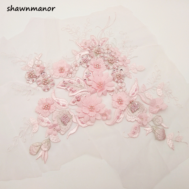 1PC Pink Beaded Lace Applique 3D Flower Sew On Patches For DIY Wedding Dress  Veil Handmade Accessories 35 25cm 64effbec1724