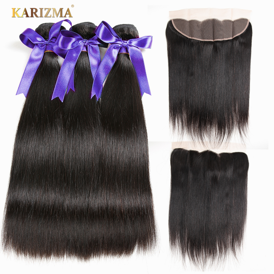 Karizma Indian Hair Bundles With Closure 13X4 Frontal 100 Non Remy Human Hair Weaves Straight Bundles