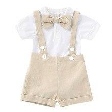 Puseky для новорожденных для маленьких мальчиков летняя одежда с коротким рукавом костюм комбинезон с галстуком-бабочкой штаны с подтяжками комплект из 2 предметов для маленьких мальчиков; одежда для детей