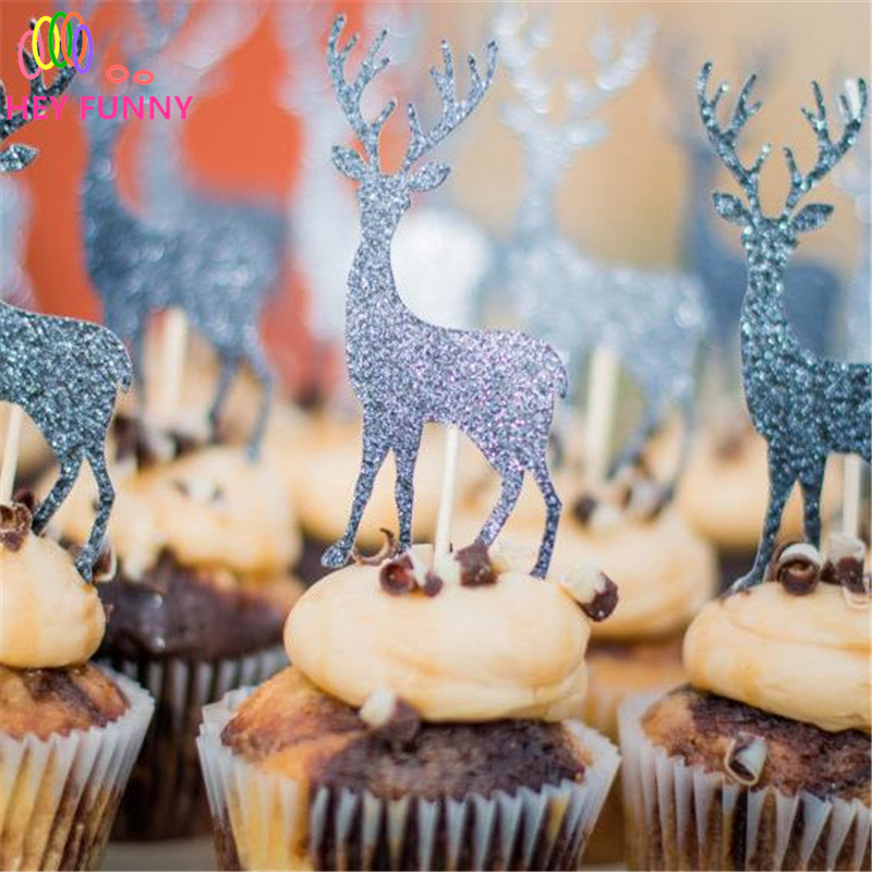 HEY FUNNY 10pcs Merry Christmas Cake inserted card Cupcake Picks Cupcake Topper Paper Christmas elk Party Festive Deer decor