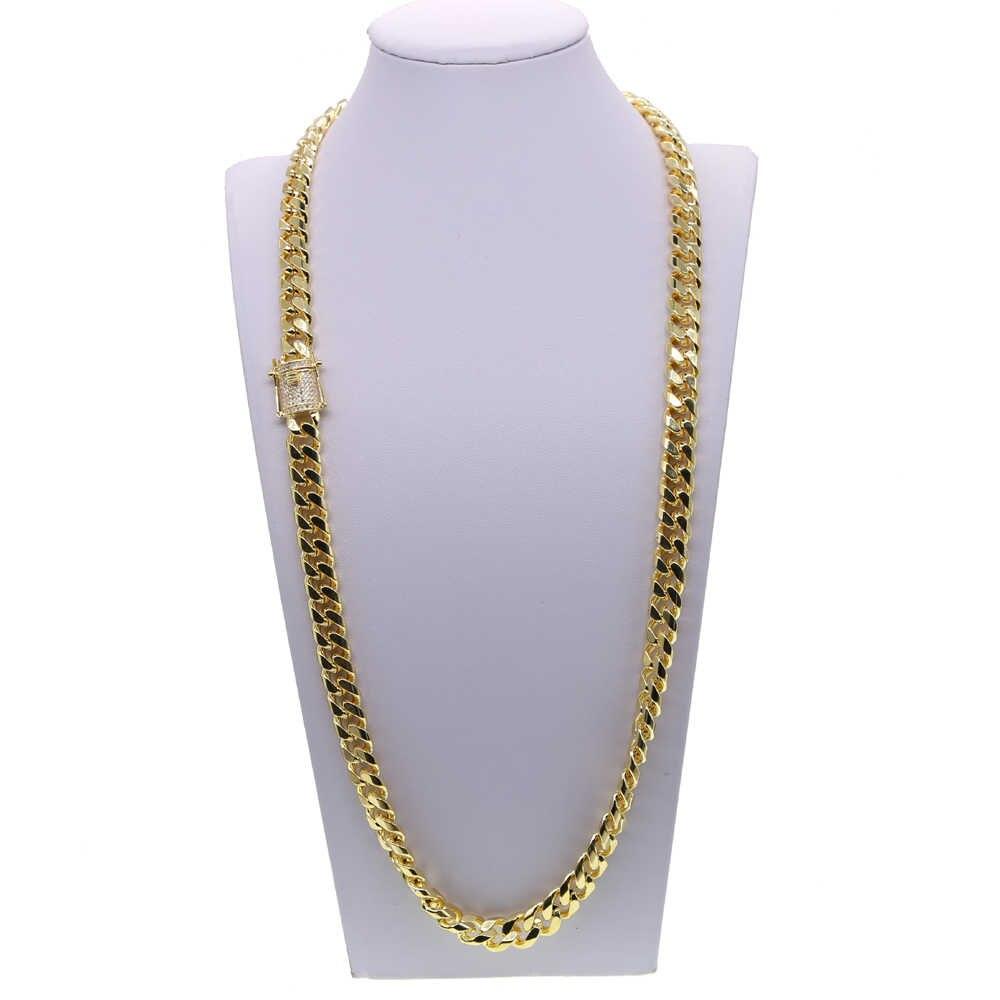 Złoty wypełniony Rock hip hop mężczyźni chłopiec biżuteria szeroki kubański link chain micro pave cz zapięcie wysokiej jakości fajne Miami bransoletka naszyjnik zestaw