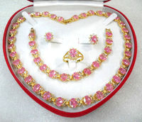 noble and generious pink zircon necklace earring bracelet and ring sets fro valentine's day gift