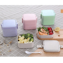 Lunch Box with Spoon Wheat Straw Cartoon Double-deck Portable Bento food storage container for kids students school Microwavable