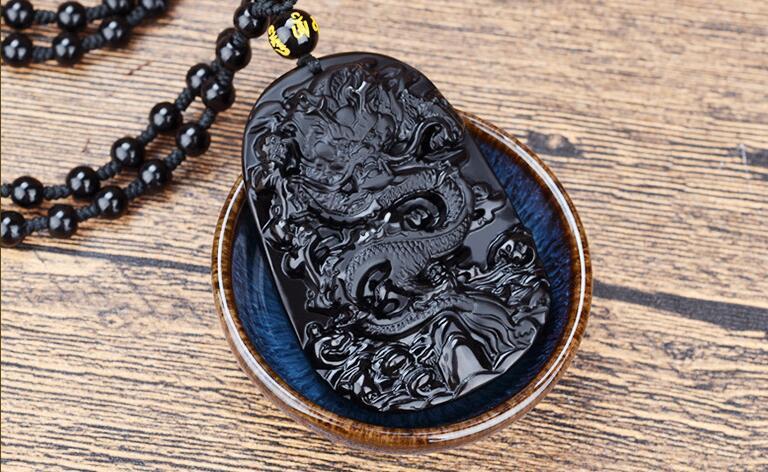 Necklaces & Pendants Chain Necklaces Natural Obsidian Carving Dragon Pendant Necklace Black Beads Chain Men Women Unique Lucky Pendants Jewelry
