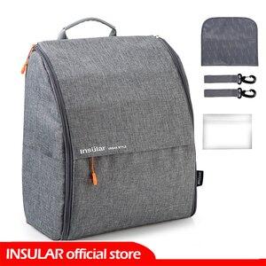 Image 1 - INSULAR แฟชั่นกระเป๋าผ้าอ้อมกระเป๋าเป้สะพายหลังผ้าอ้อมกระเป๋าแม่กระเป๋าเด็กสำหรับแม่พ่อกับรถเข็นเด็ก/เปลี่ยนแผ่น /กระเป๋าเปียก