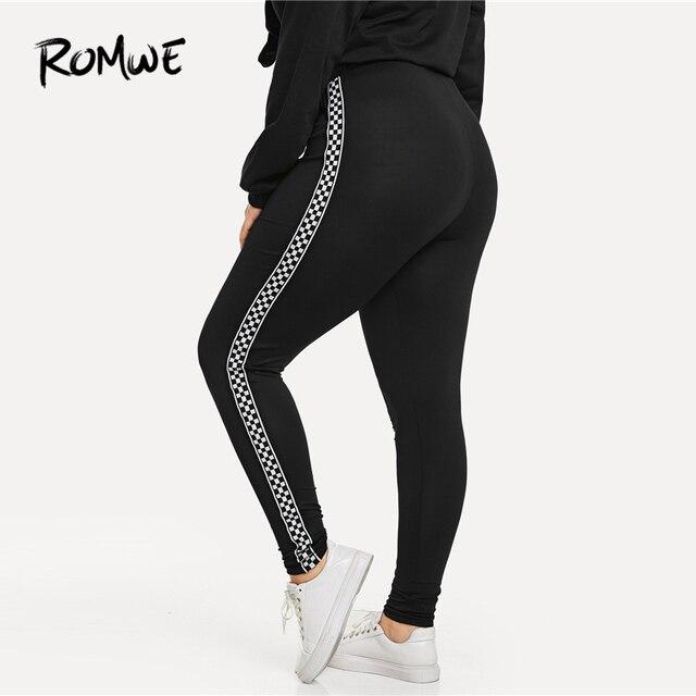Romwe Sport плюс размер черные клетчатые контрастные клетчатые обтягивающие леггинсы штаны для фитнеса или йоги Тренажерный зал женские 2019 спор... 2