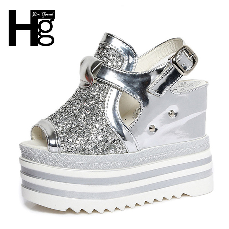HEE GRAND Wedges Bling Glitter Sandals Silver Women Ankle Casual Woman Shoes Summer Buckle Wedge Shoes XWZ3848 phyanic gold silver wedges sandals 2017 new platform casual shoes woman summer buckle creepers bling flats shoes phy4040