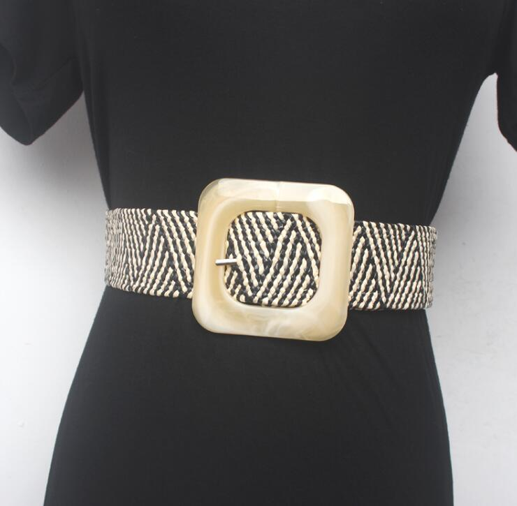 Women's Runway Fashion Knitted Cummerbunds Female Dress Corsets Waistband Belts Decoration Wide Belt R1549
