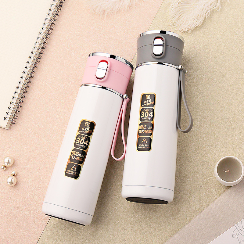 Student Couple Children's 404 Stainless Steel Large Capacity 450ML Thermos Mug Tea Coffee Food Swig Wine Cups Water Bottle Cap