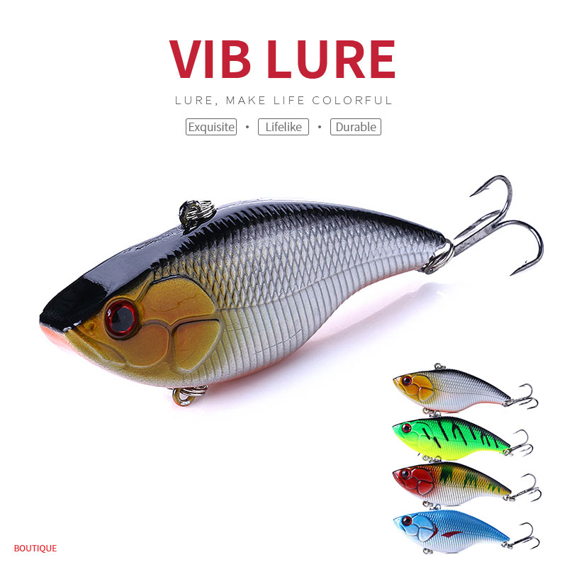 HENGJIA 1PC VIB Fishing Bait 7.5cm 18g Vibration Vibe Rattle Hooks Plastic Hard Lure 4 Colors Fishing Tackle