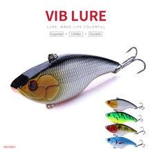 HENGJIA 1PC VIB Fishing Bait 7.5cm 18g Vibration Vibe Rattle Hooks Plastic Hard Lure 4 Colors Tackle