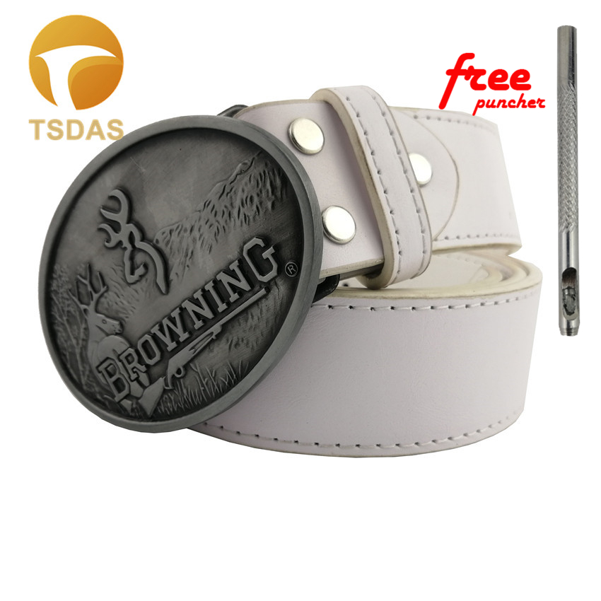 New Style BROWNING Belt Buckle Oval Silver Metal For 4cm/1.57in Wide Belt Classic Men Women Jeans accessories