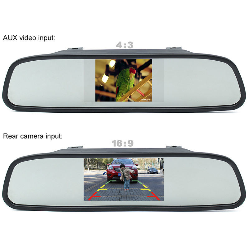 "GreenYi Parking Assistance 4.3"" Rear Mirror Monitor + Reverse Backup License Plate Frame Rearview Camera Night Vision 1"
