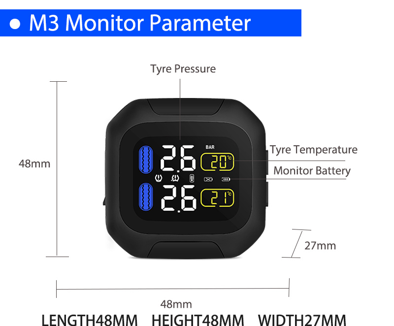 Image 5 - M3 Waterproof Motorcycle Real Time Tire Pressure Monitoring System TPMS Wireless LCD Display Internal or External TH/WI Sensors-in Tire Pressure Alarm from Automobiles & Motorcycles